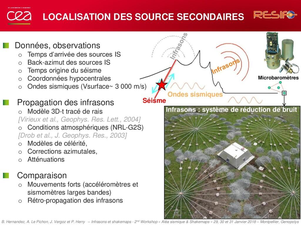 LOCALISATION DES SOURCE SECONDAIRES Ondes sismi...
