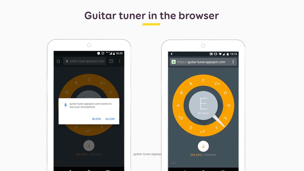 Guitar tuner in the browser guitar-tuner.appspo...