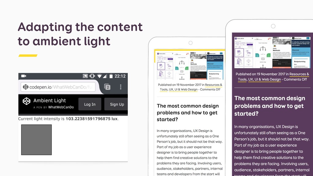 Adapting the content to ambient light
