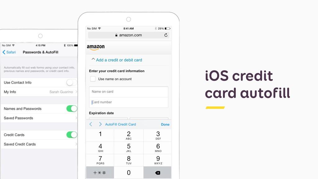 iOS credit card autofill