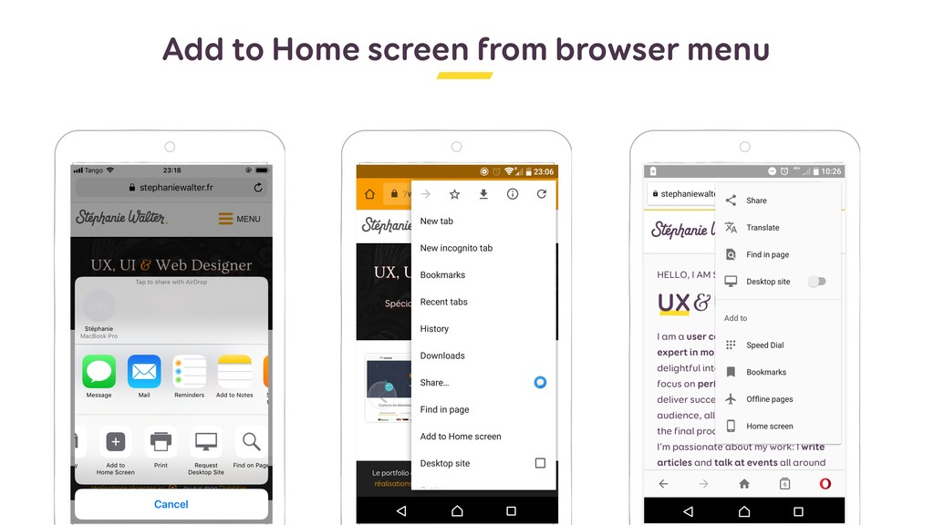 Add to Home screen from browser menu