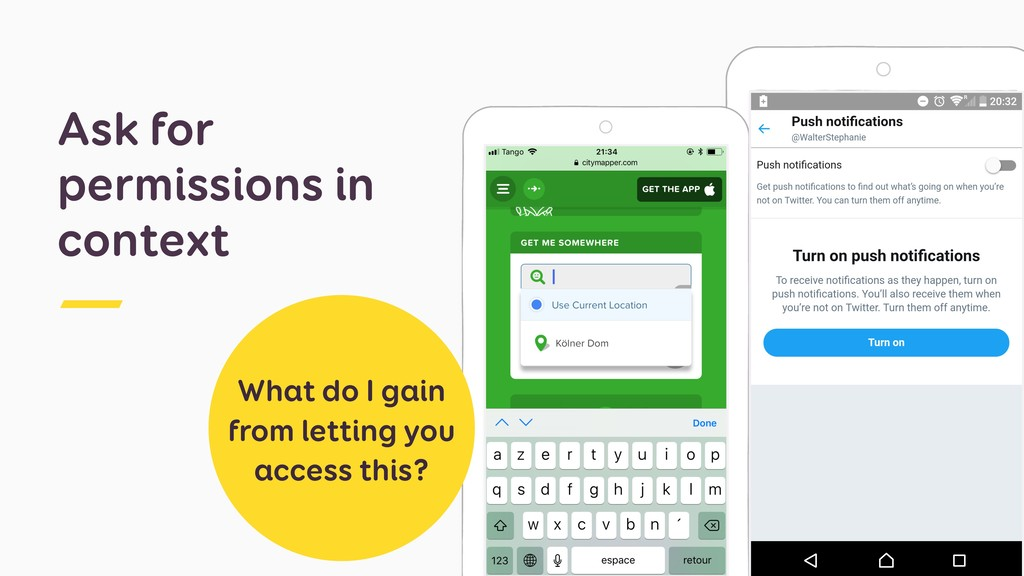 Ask for permissions in context What do I gain f...