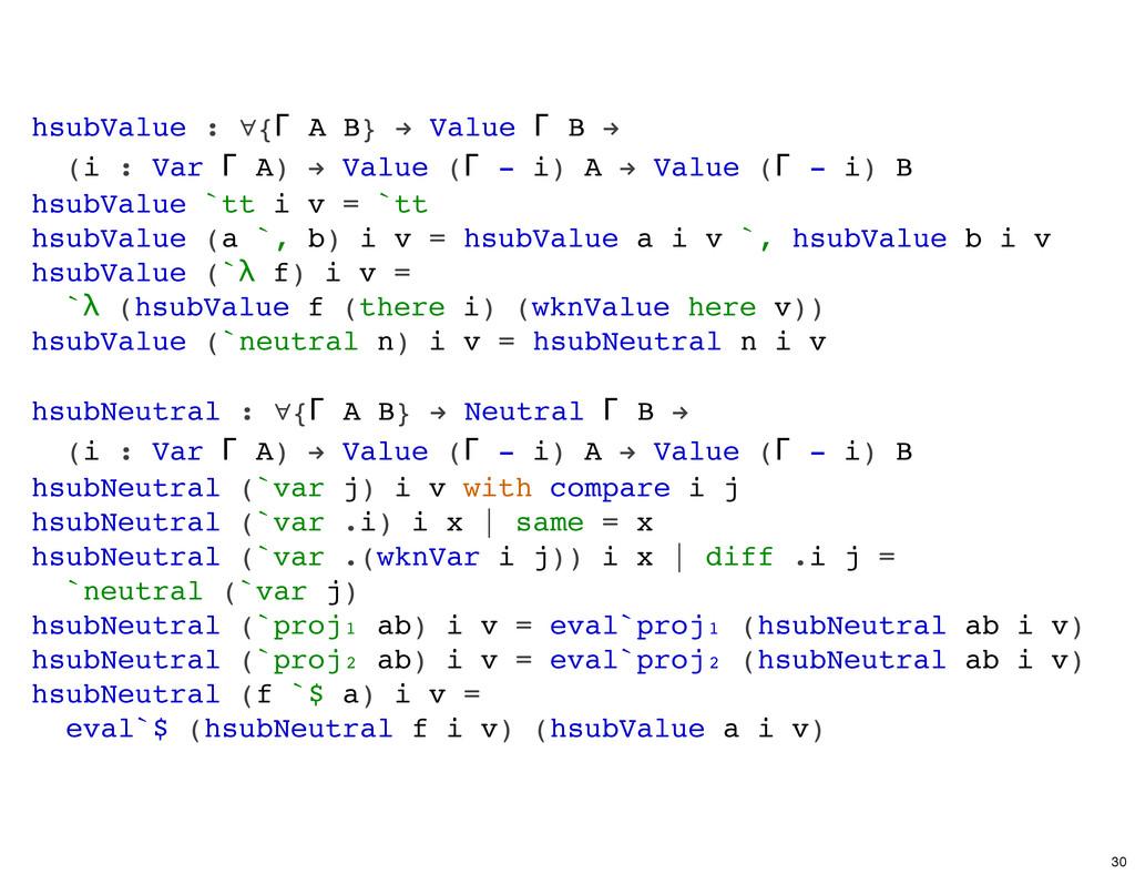 hsubValue : ∀{Γ A B} ! Value Γ B ! (i : Var Γ A...