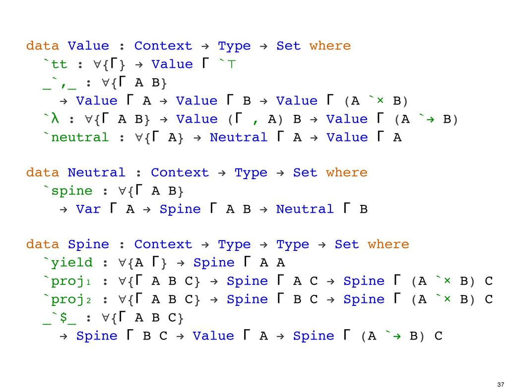 data Value : Context ! Type ! Set where `tt : ∀...