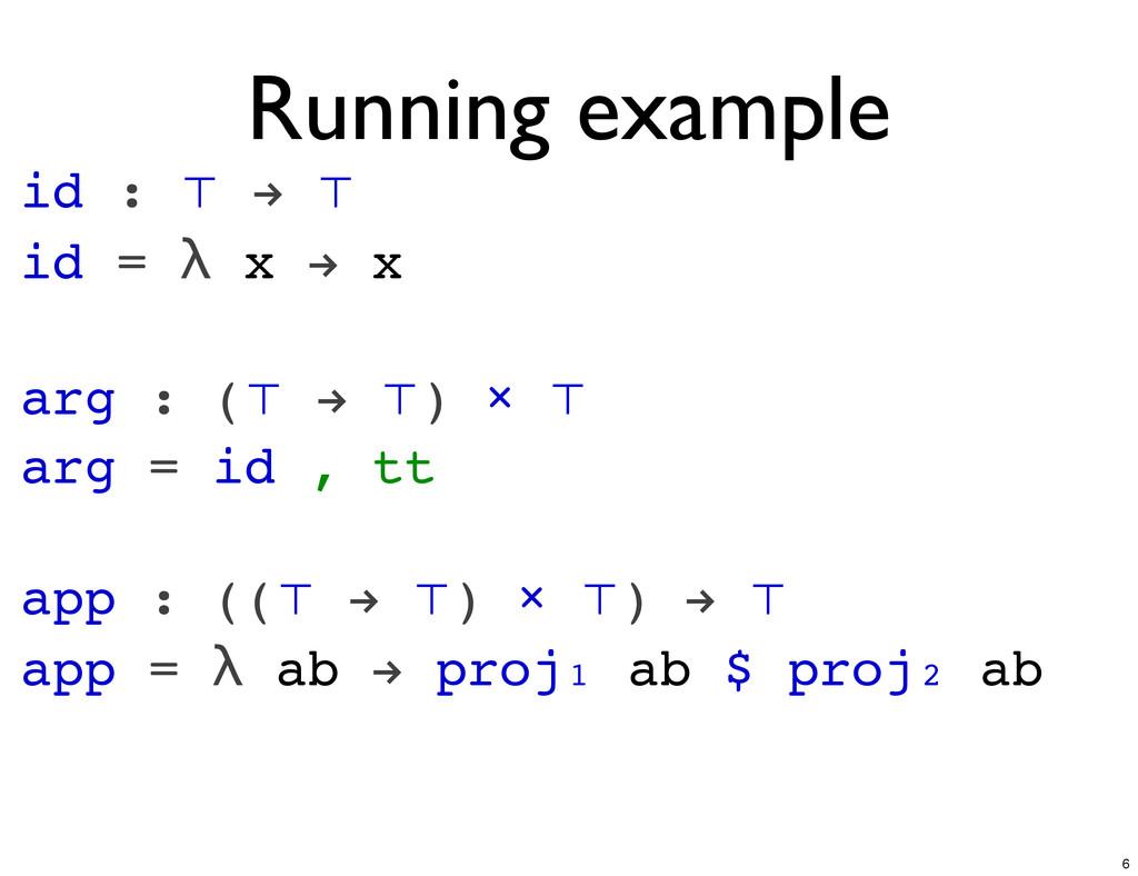 id : ⊤ ! ⊤ id = λ x ! x arg : (⊤ ! ⊤) × ⊤ arg =...