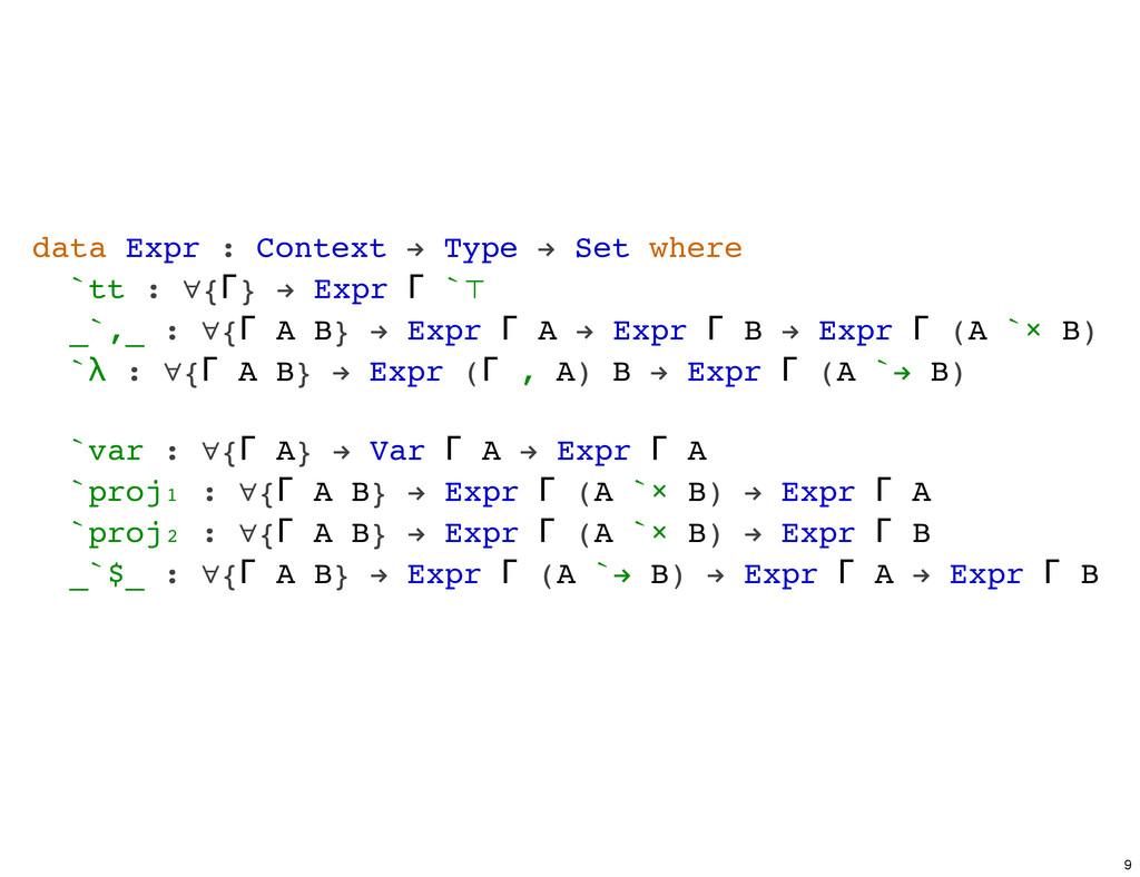 data Expr : Context ! Type ! Set where `tt : ∀{...
