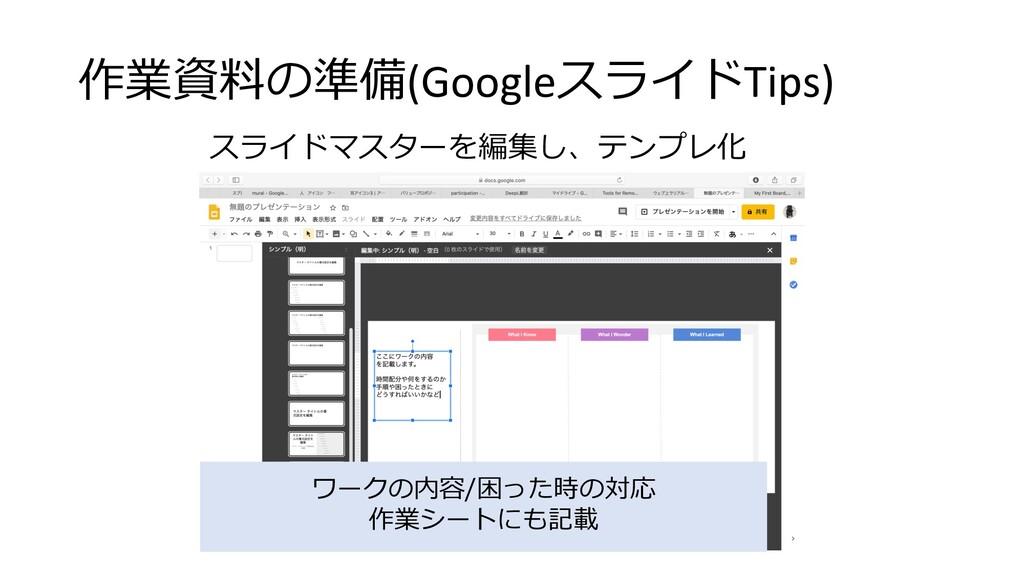 作業資料の準備(GoogleスライドTips) スライドマスターを編集し、テンプレ化 ワークの...
