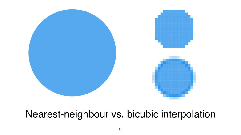 20 Nearest-neighbour vs. bicubic interpolation