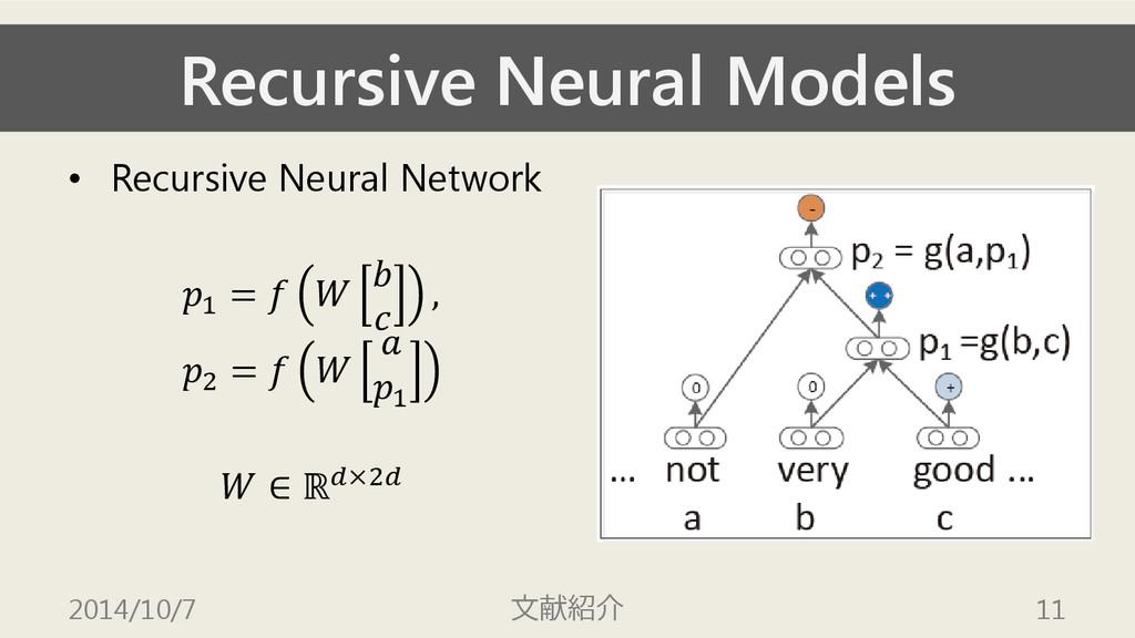 Recursive Neural Models • Recursive Neural Netw...
