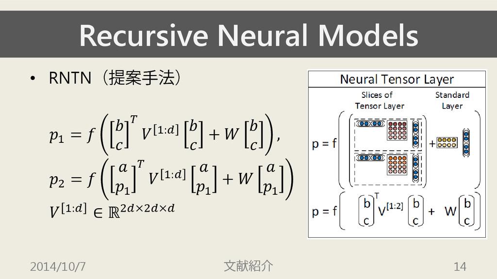 Recursive Neural Models • RNTN(提案手法) 1 =      1...