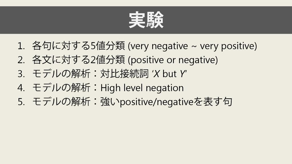 実験 1. 各句に対する5値分類 (very negative ~ very positive...