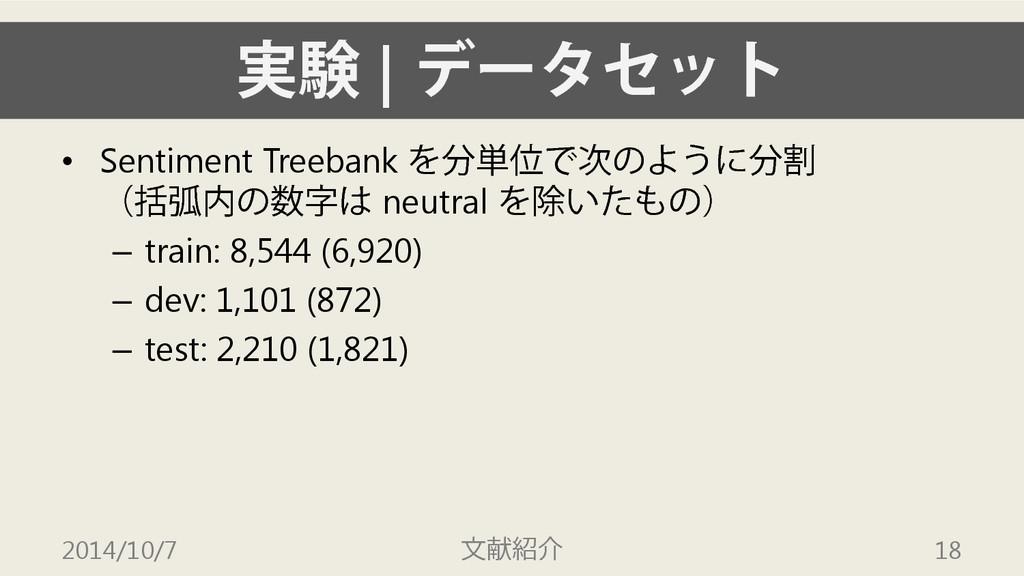 実験 | データセット • Sentiment Treebank を分単位で次のように分割 (...