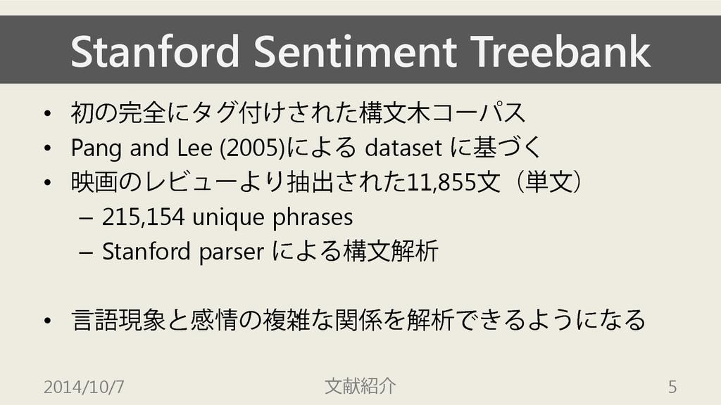 Stanford Sentiment Treebank • 初の完全にタグ付けされた構文木コー...