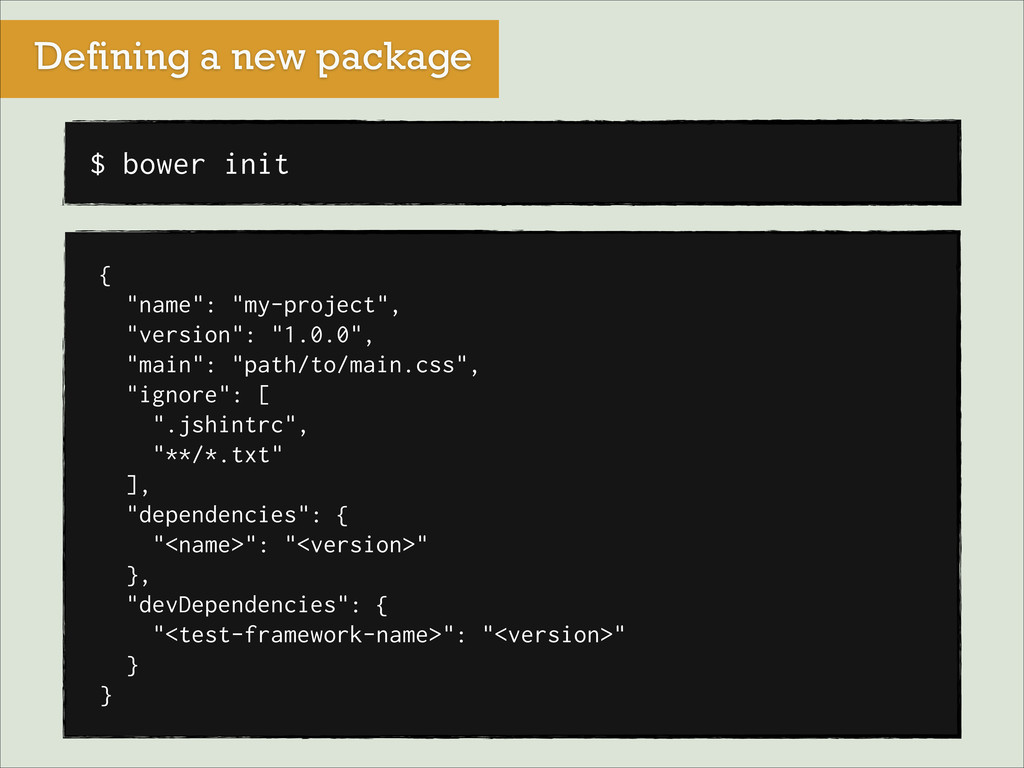 "Defining a new package $ bower init { ""name"": ""..."