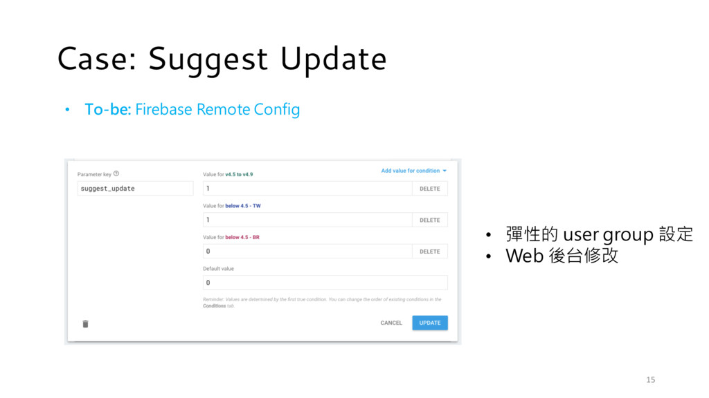 Case: Suggest Update • To-be: Firebase Remote C...