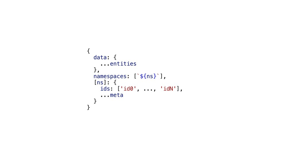 { data: { ...entities }, namespaces: [`${ns}`],...