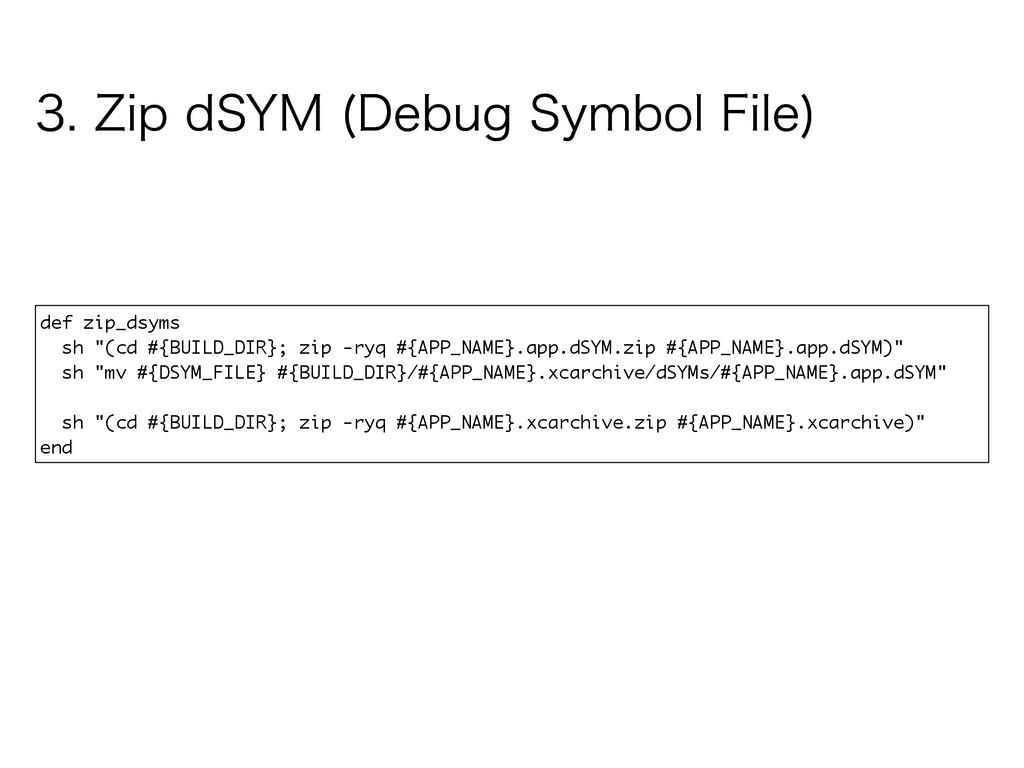 """def zip_dsyms sh """"(cd #{BUILD_DIR}; zip -ryq #{..."""