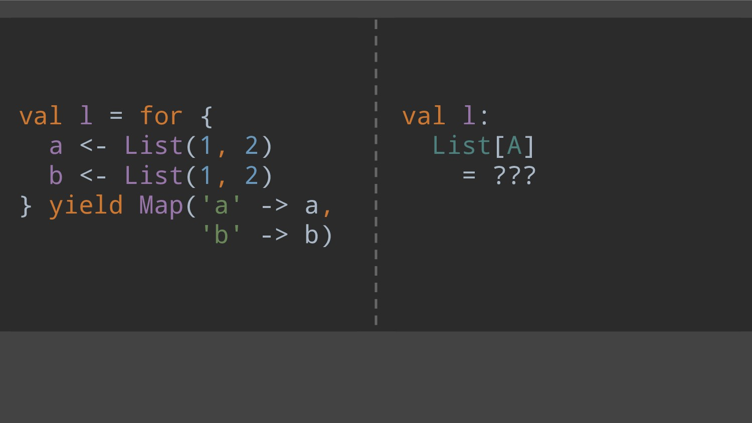 val l = for { a <- List(1, 2) b <- List(1, 2) }...