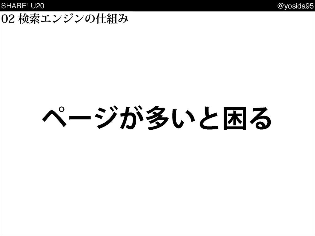 SHARE! U20 @yosida95 ݕࡧΤϯδϯͷΈ ϖʔδ͕ଟ͍ͱࠔΔ