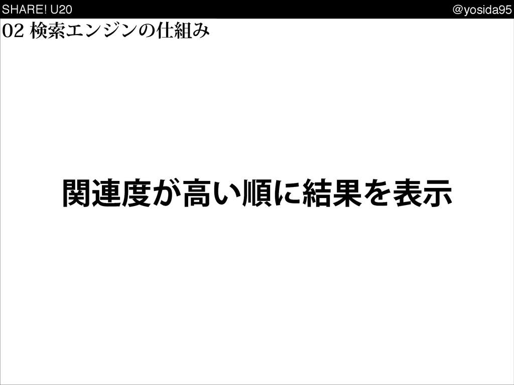 SHARE! U20 @yosida95 ݕࡧΤϯδϯͷΈ ؔ࿈͕ߴ͍ॱʹ݁ՌΛදࣔ
