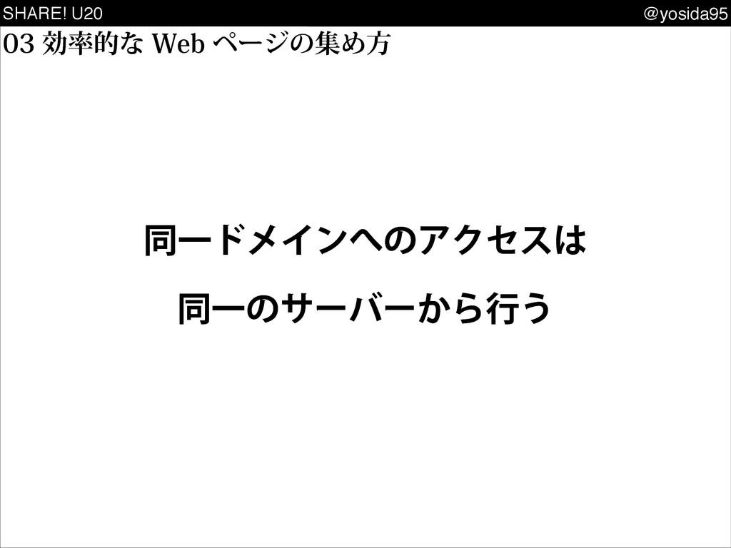 SHARE! U20 @yosida95 ޮతͳ8FCϖʔδͷूΊํ ಉҰυϝΠϯ...