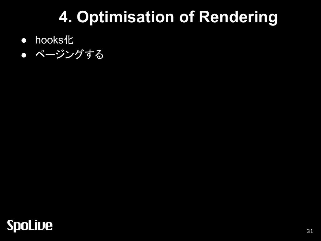 4. Optimisation of Rendering ● hooks化 ● ページングする...