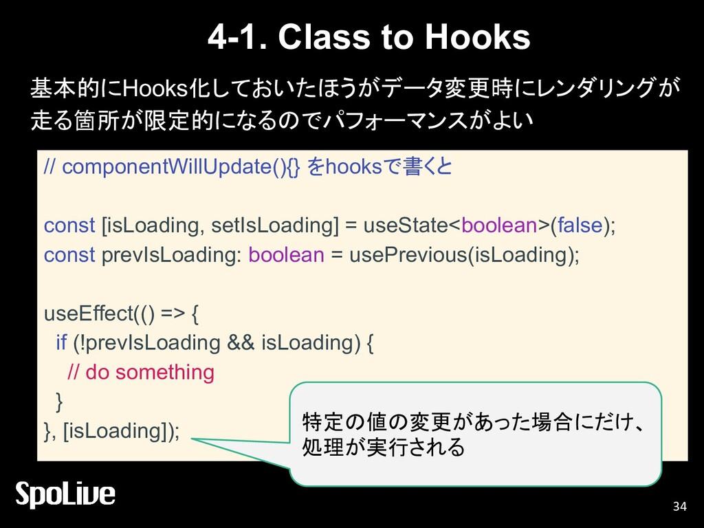 4-1. Class to Hooks 基本的にHooks化しておいたほうがデータ変更時にレン...