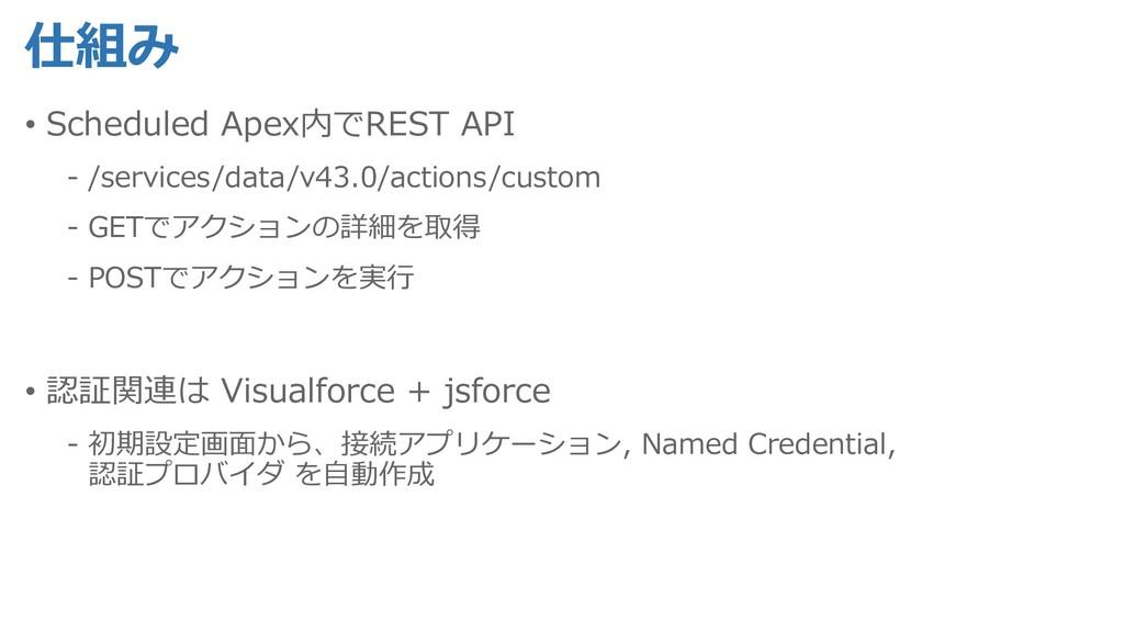 仕組み • Scheduled Apex内でREST API - /services/data...