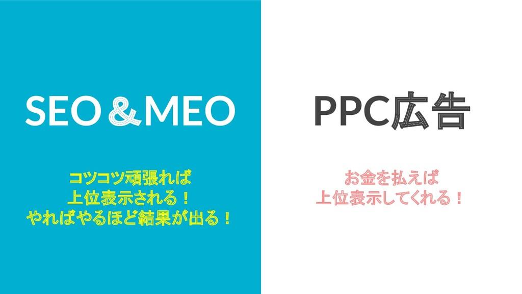 SEO&MEO コツコツ頑張れば 上位表示される! やればやるほど結果が出る! PPC広告 お...