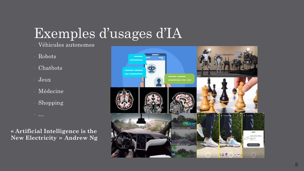 Exemples d'usages d'IA • Véhicules autonomes • ...