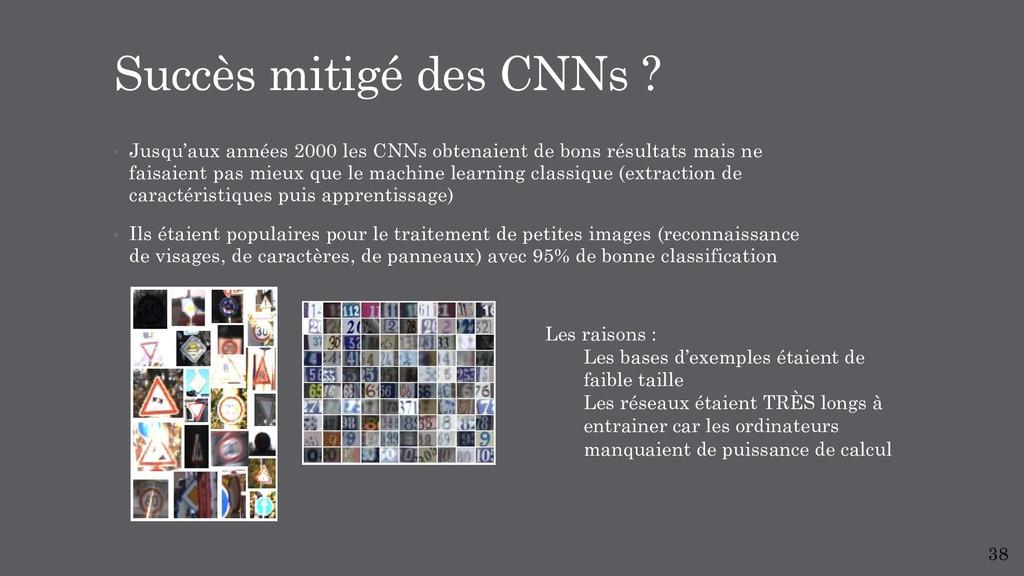 • Jusqu'aux années 2000 les CNNs obtenaient de ...