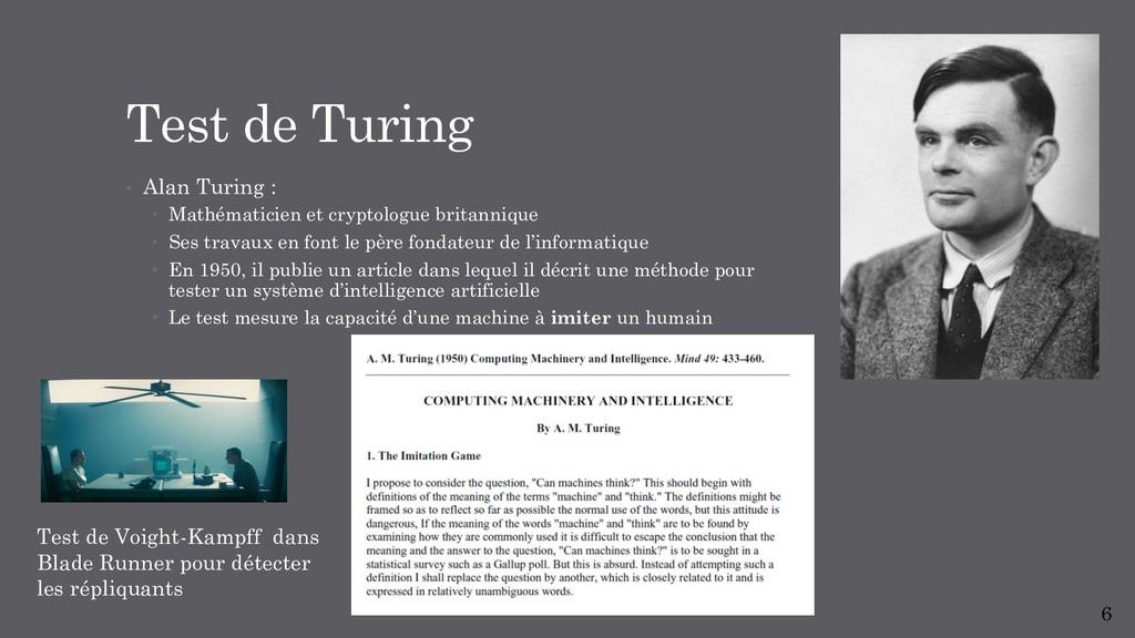 Test de Turing • Alan Turing : – Mathématicien...