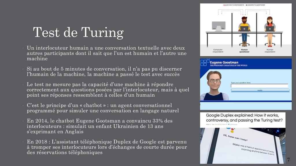 Test de Turing • Un interlocuteur humain a une ...