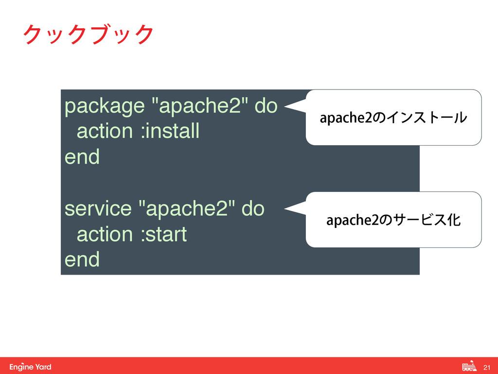 """21 ! ΫοΫϒοΫ package """"apache2"""" do! action :inst..."""