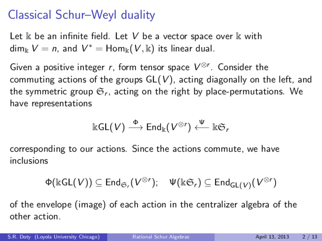 Classical Schur–Weyl duality Let k be an infinit...
