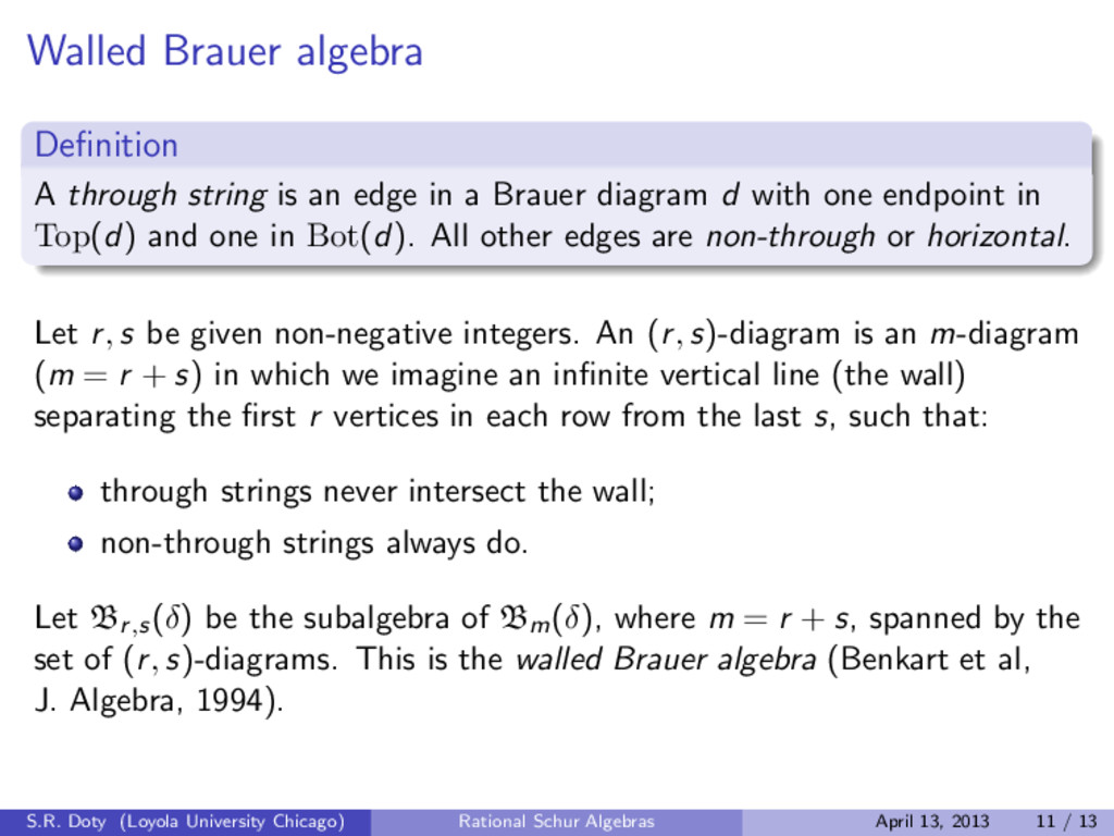 Walled Brauer algebra Definition A through strin...