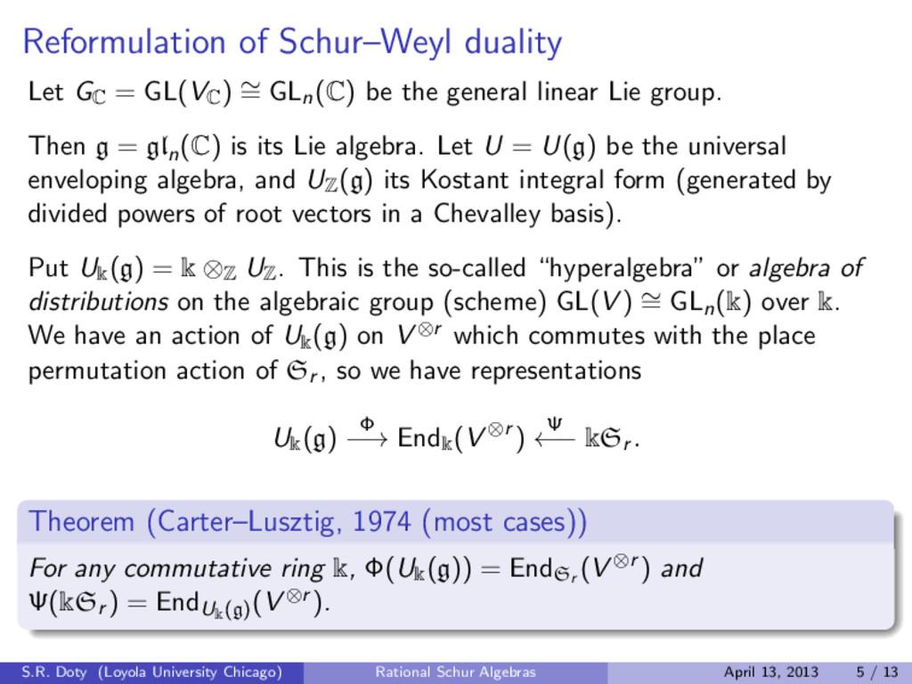 Reformulation of Schur–Weyl duality Let G C = G...