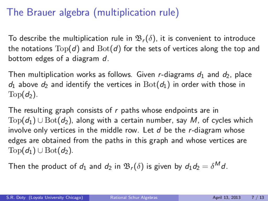 The Brauer algebra (multiplication rule) To des...
