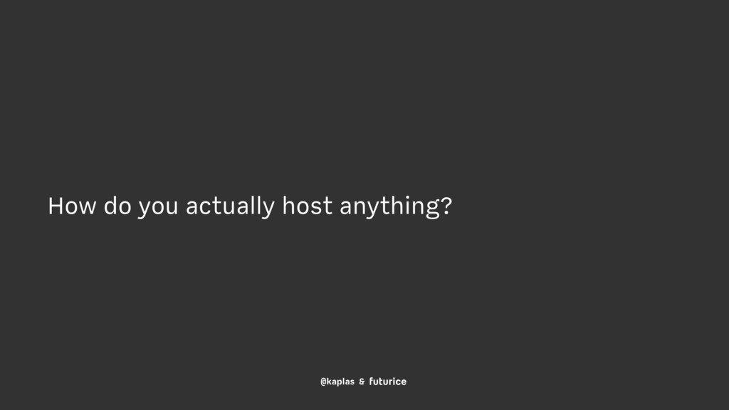 @kaplas & How do you actually host anything?
