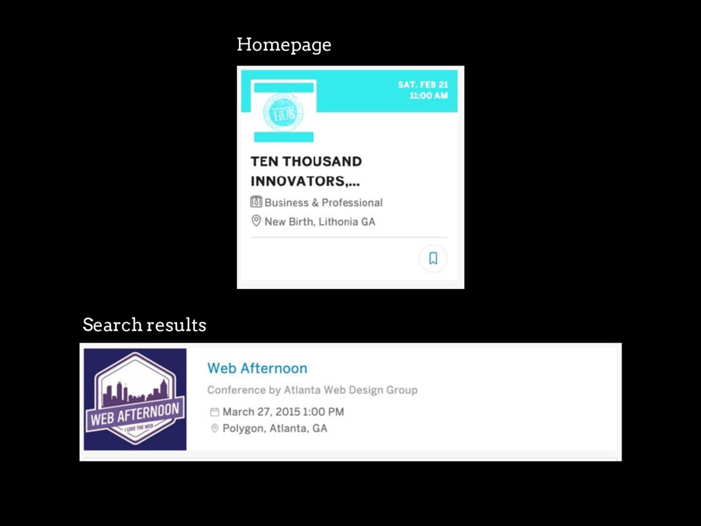 Homepage Search results