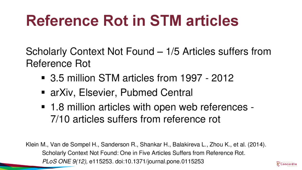 Reference Rot in STM articles Scholarly Context...