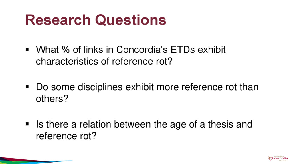 Research Questions  What % of links in Concord...