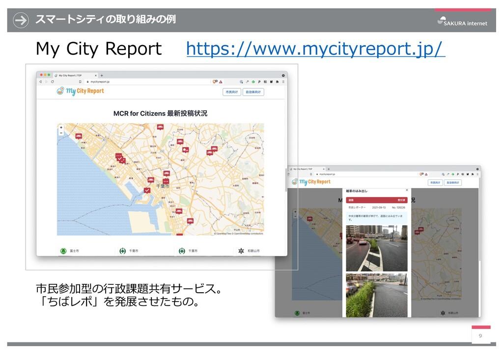 スマートシティの取り組みの例 My City Report https://www.mycit...