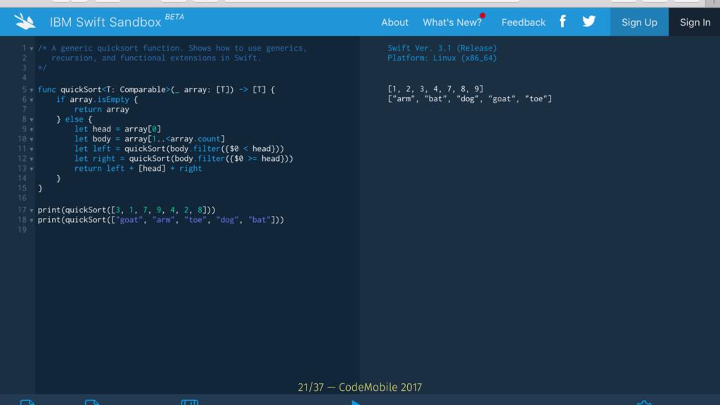 21/37 — CodeMobile 2017