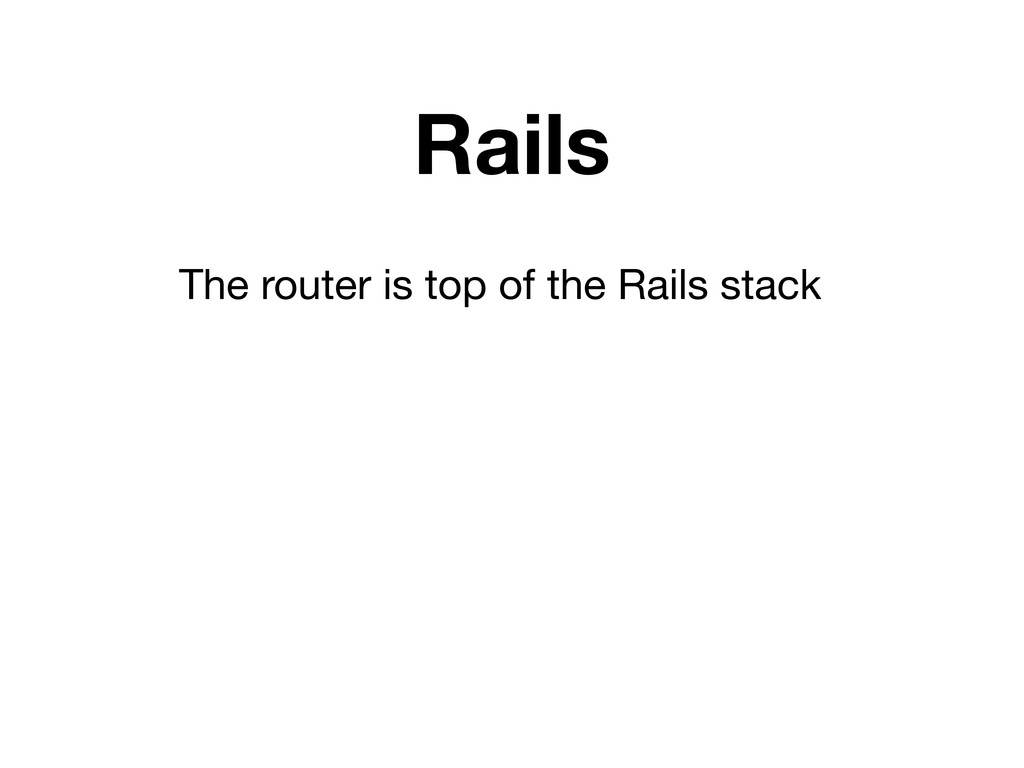 Rails The router is top of the Rails stack