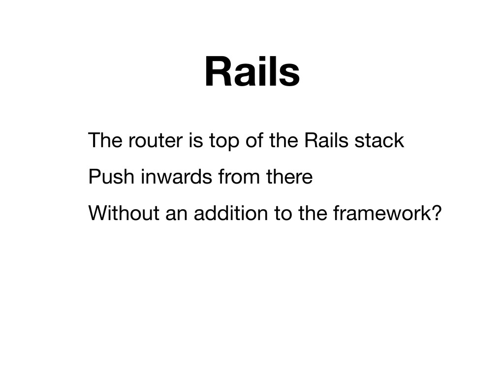 Rails The router is top of the Rails stack Push...