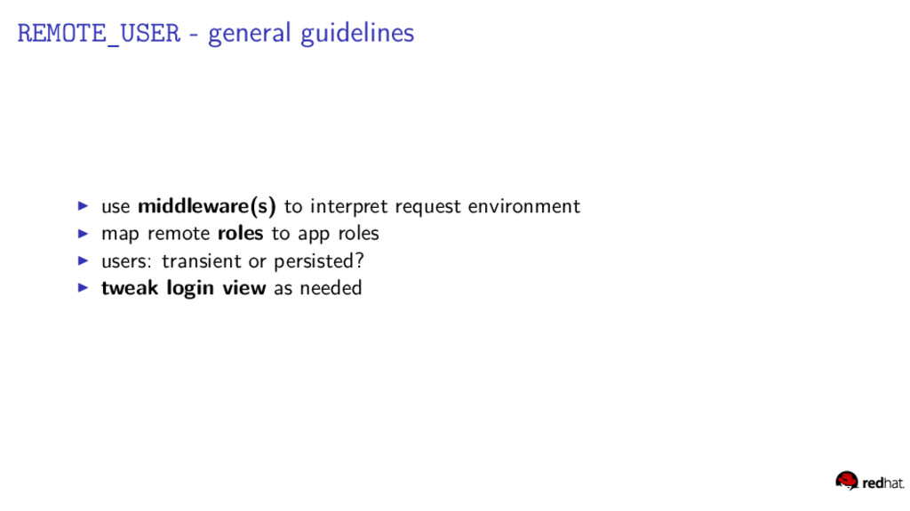 REMOTE_USER - general guidelines use middleware...