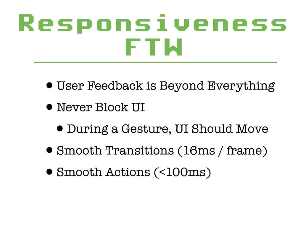 Responsiveness FTW •User Feedback is Beyond Eve...