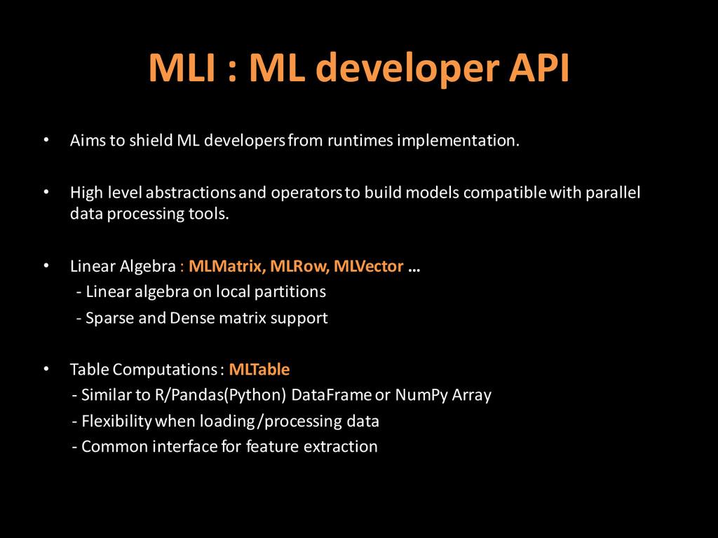 MLI : ML developer API • Aims to shield ML deve...