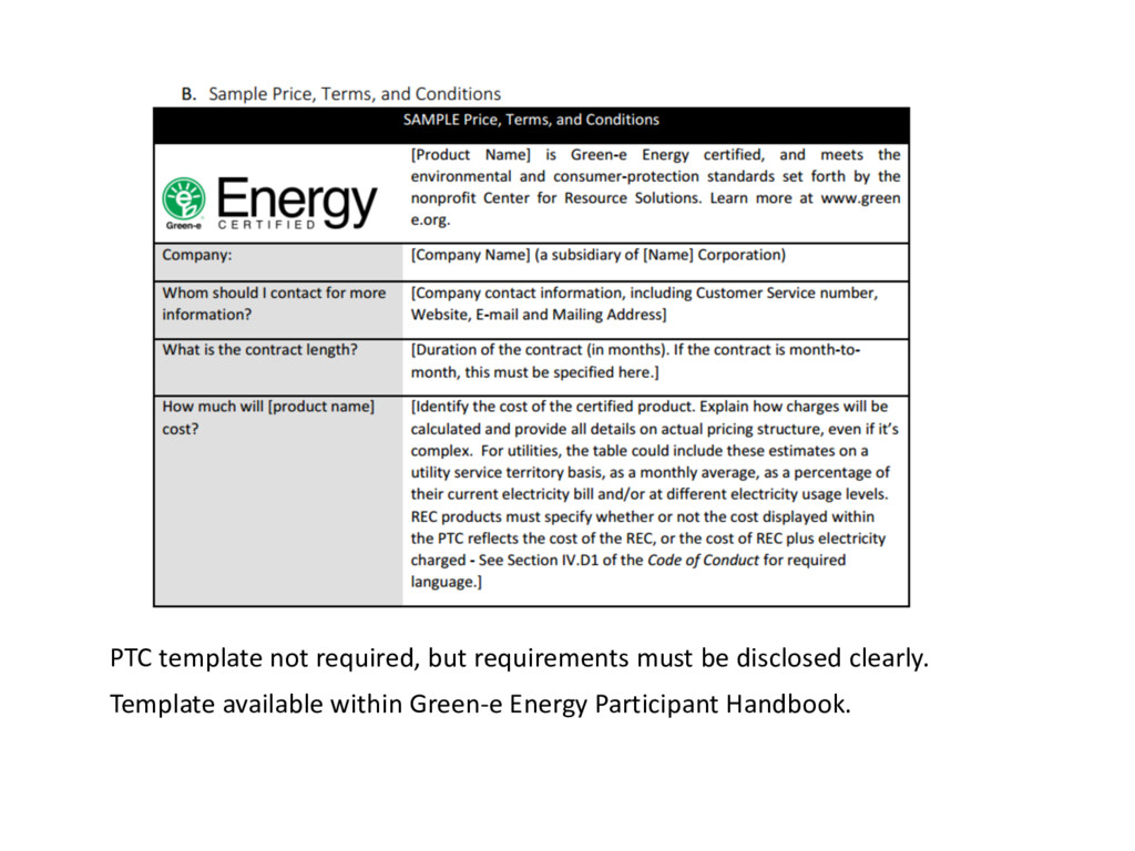 PTC template not required, but requirements mus...